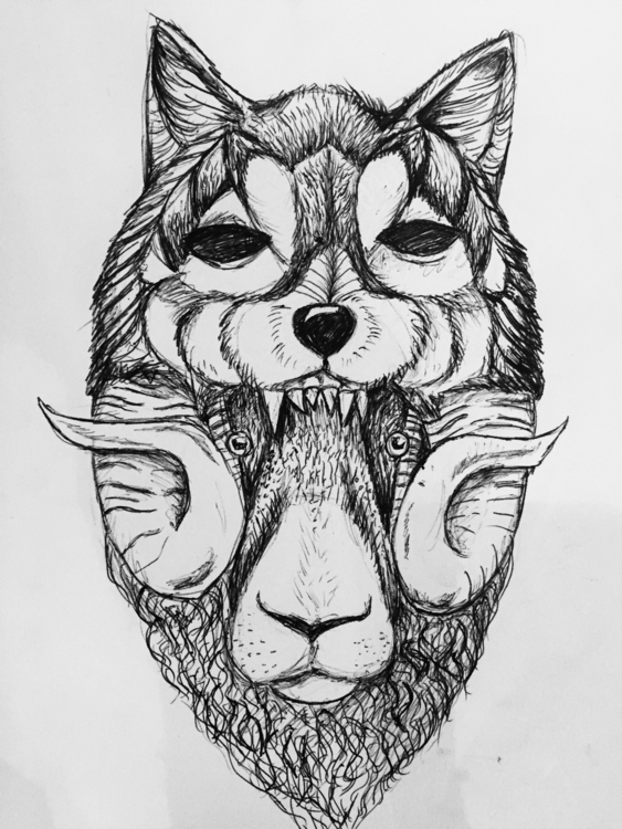 April/17 - wolf, deawing, blackandwhite - nellie380 | ello