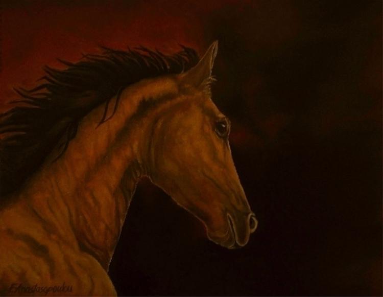horse, portrait, painting, art - fayeanastasopoulou   ello