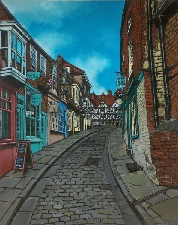 'Steep Hill' Lincoln UK, acryli - wynsexon | ello