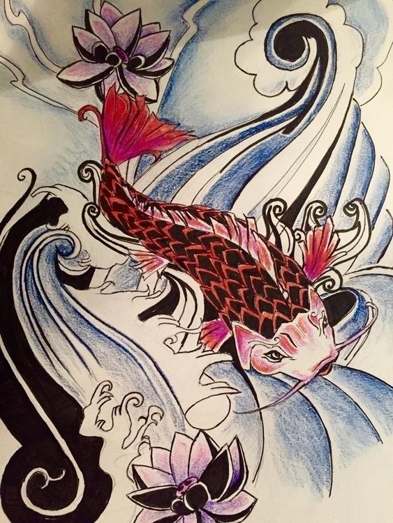 April/17 - fish, lotus, flower, water - nellie380 | ello