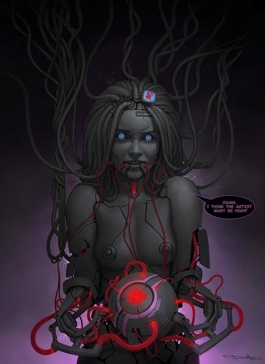 cyberpunk, scifi, android, tits - ukimalefu | ello