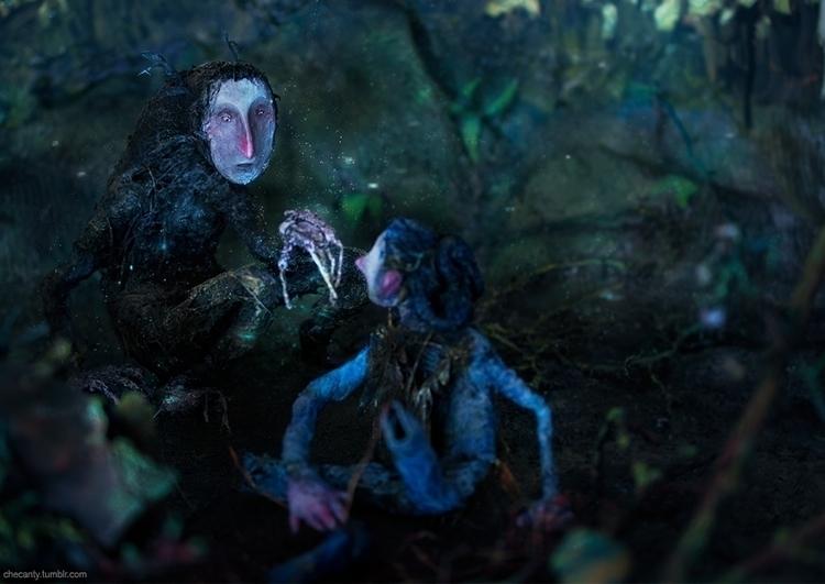 sculpture, dolls, night, forest - checanty | ello