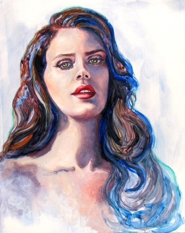 Ocean - painting, blue, portrait - avacarmenart | ello