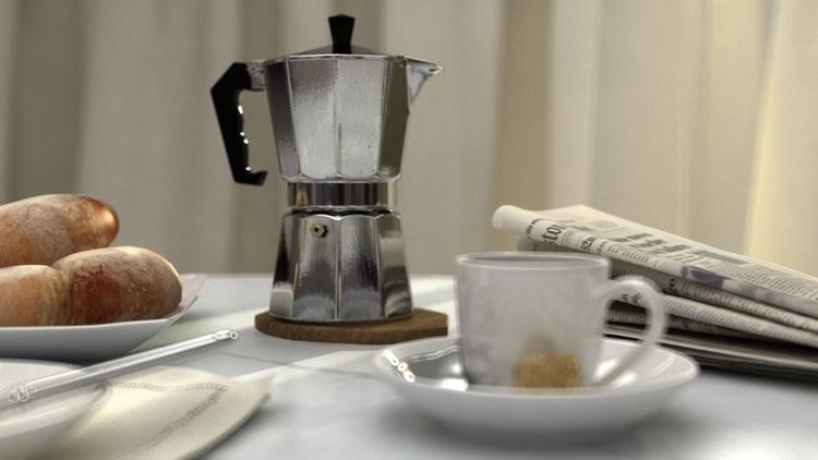 Morning coffe, accents - 3d, breakfast - adidraw | ello