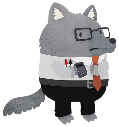 Geek Wolf - wolf, character, geek - clairestamper | ello