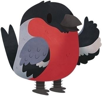 Bullfinch - bullfinch, bird, character - clairestamper   ello