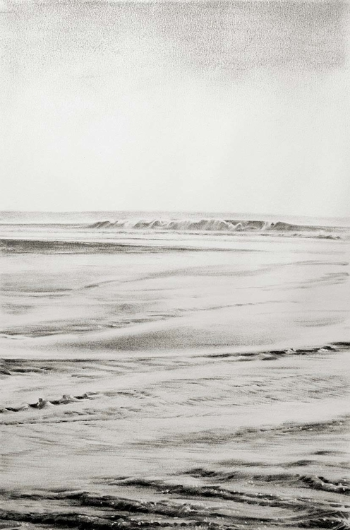 charcoal drawing, Croyde tide,  - mangolozolo | ello