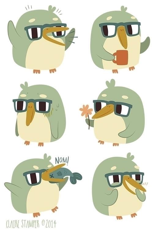 Green Penguin - penguin, bird, character - clairestamper   ello