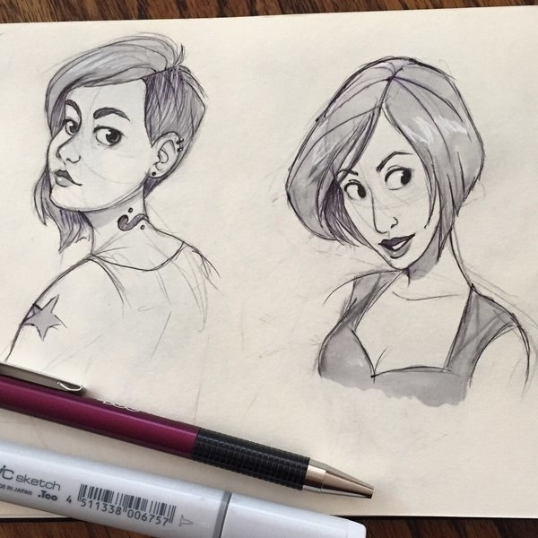 Sketched ladies - sketch, sketchbook - chelseakenna | ello