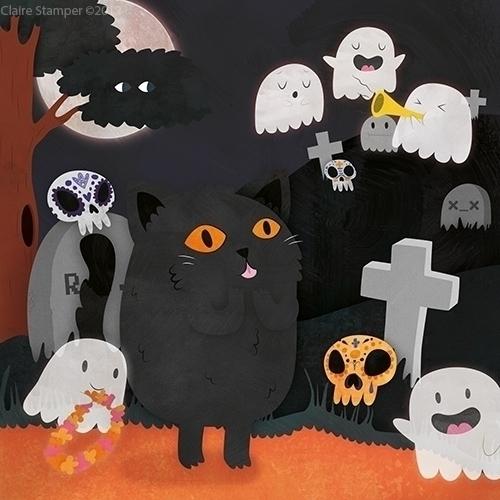Halloween Cat - halloween, cat, ghosts - clairestamper | ello