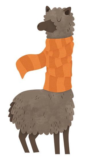 Llama Wearing Scarf - llama, scarf - clairestamper | ello