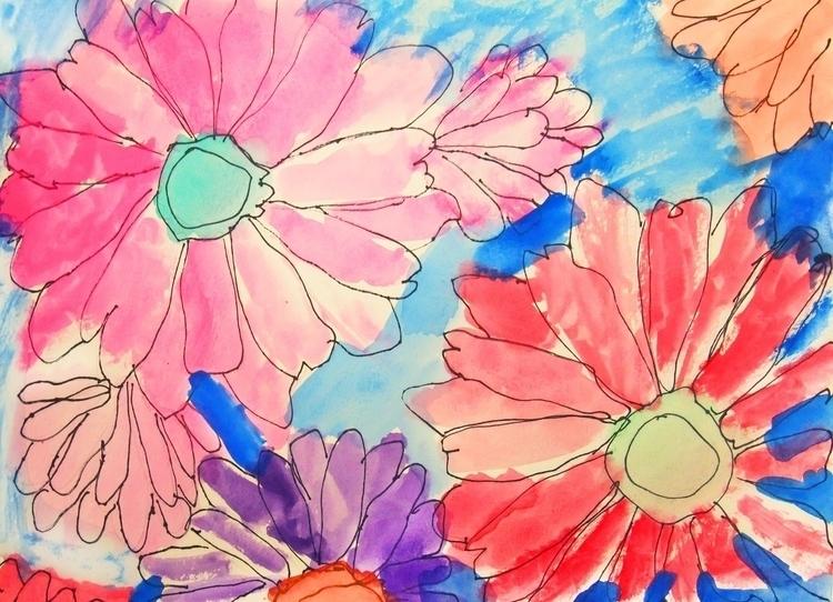 colorful rainbow flower design  - allise_noble | ello