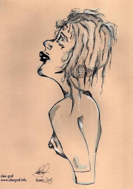 Woman sketch - woman, ink, drawing - alexgraf | ello