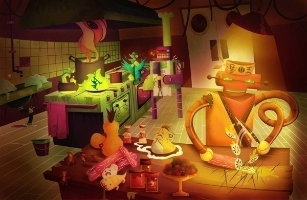 kitchen - illustration, robot - jjneto | ello