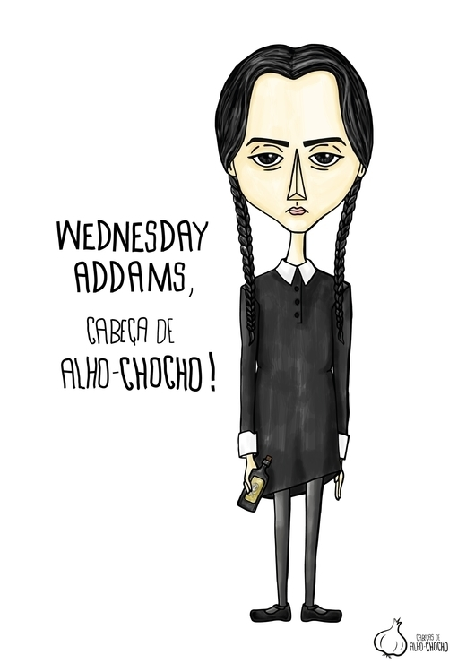Caricature Wednesday Addams - illustration - mariamota | ello