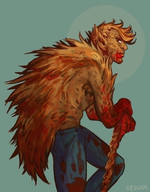 Hey babe, blood - sketch, werewolf - rachelpoulson   ello