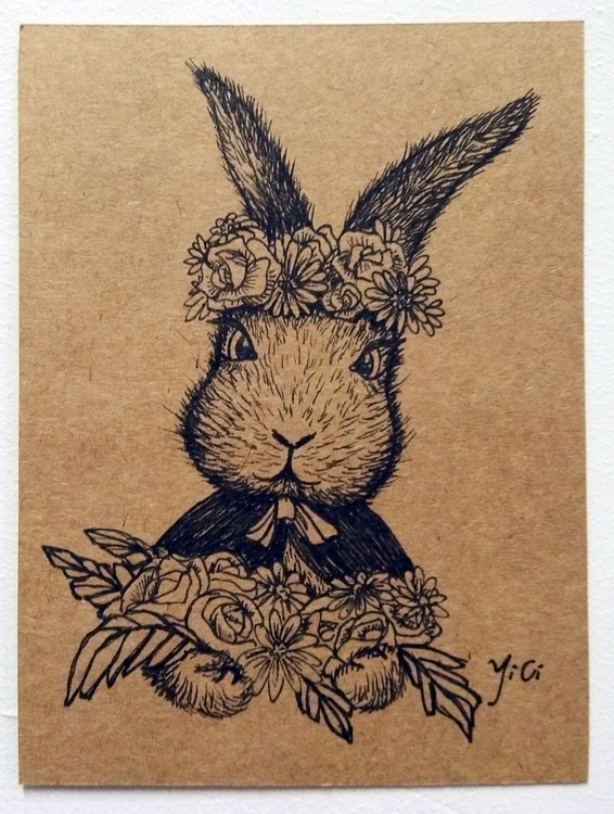 Rabbit flower - drawing, illustration - kekemao | ello