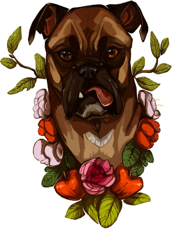 commissioned work - dog, boxer, painting - uru-1113 | ello