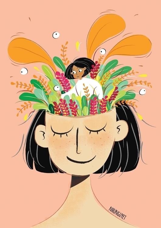 illustration, drawing, girl, myart - nhunguyet | ello