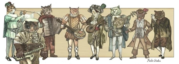 illustration, painting, cat, cats - felissimha | ello