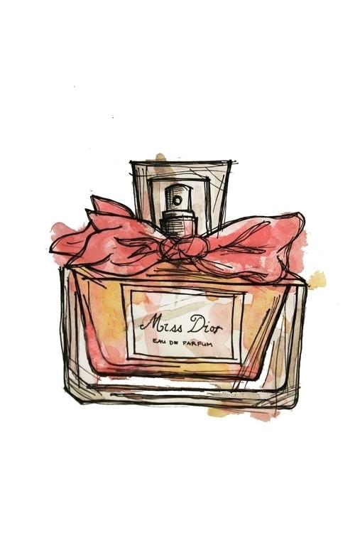 Dior perfume art - watercolor, watercolour - kaitlynsmith | ello