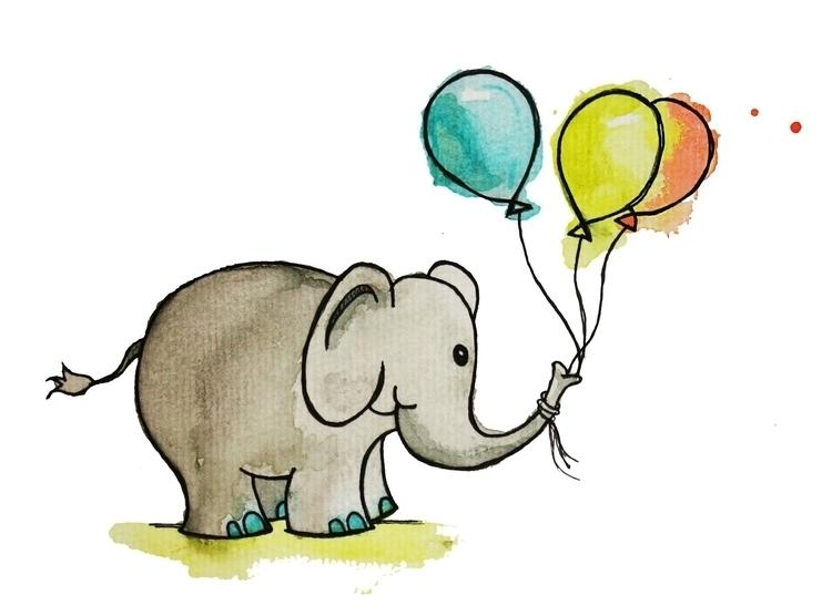 birthday elephant - illustration - kaitlynsmith | ello