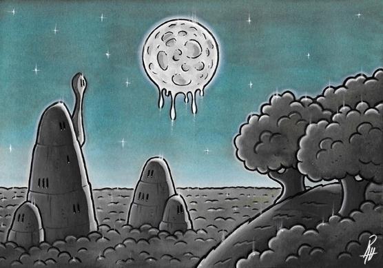 Moon - illustration, painting, song - marcorizzi-1205 | ello