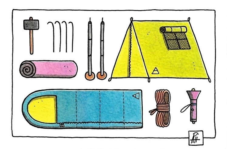 Camping equipment - illustration - marcorizzi-1205 | ello