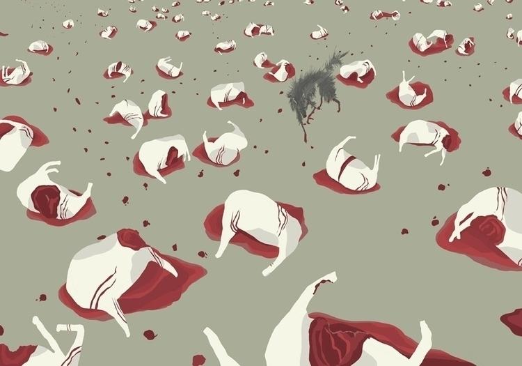 Murder Meadow - wolf, cow, blood - charlottekingstonlarson | ello
