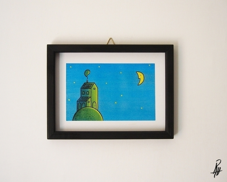 Night (handmade frame - illustration - marcorizzi-1205 | ello