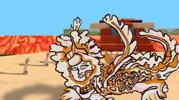 Piasa giant, man puppet dance - illustration - mkbarr | ello