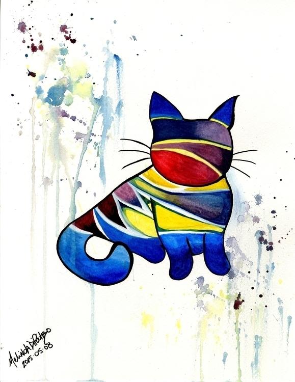 Water Kity Cat - illustration, painting - melindadipietro | ello