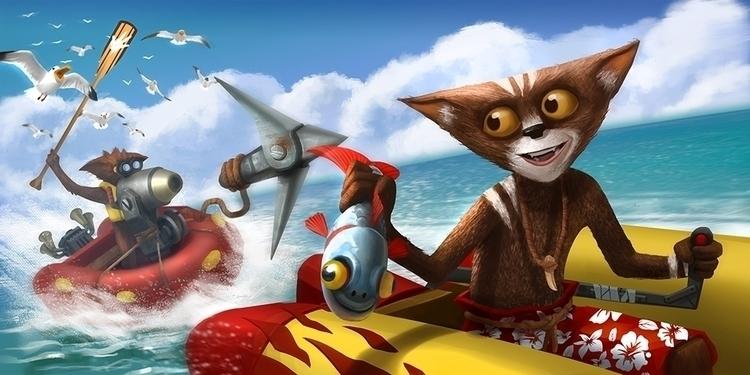 Battle boats - illustration, painting - igorkozhanov | ello
