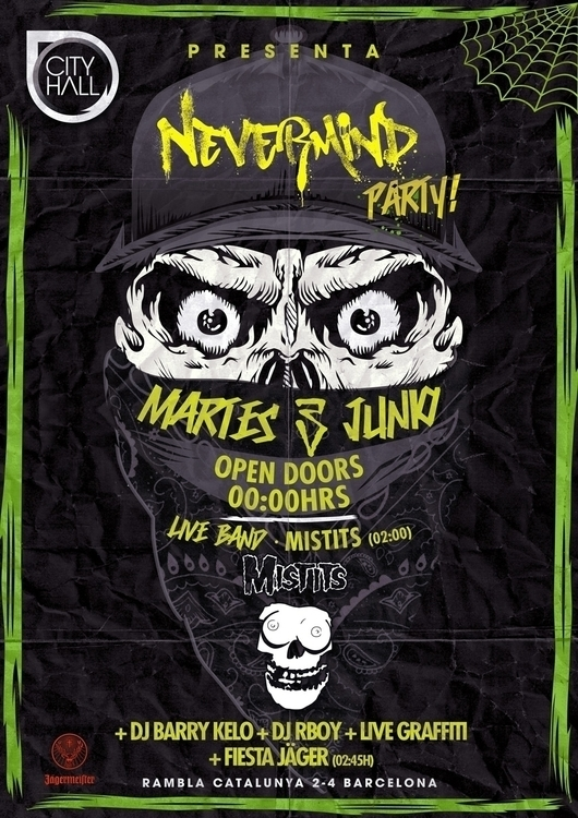 nevermind party - skull, flyer, ilustration - rodras13 | ello