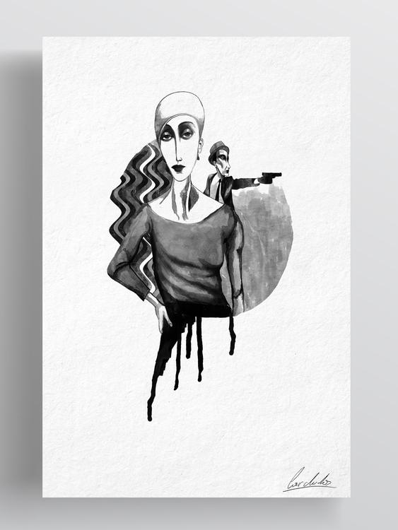 Bonnie Clyde - drawing, ink, digitalart - cardula | ello