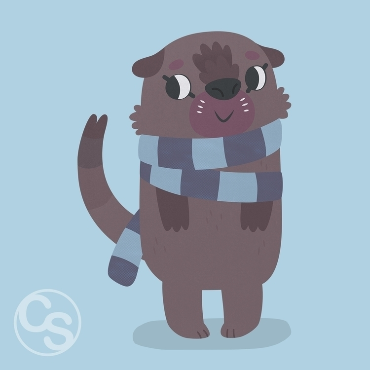 Otter - otter, scarf, winter, characterdesign - clairestamper | ello