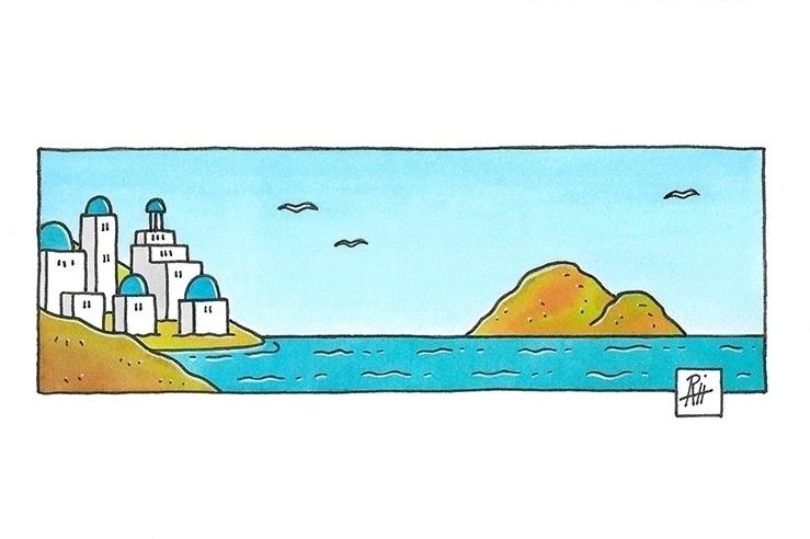 Santorini - illustration, painting - marcorizzi-1205 | ello