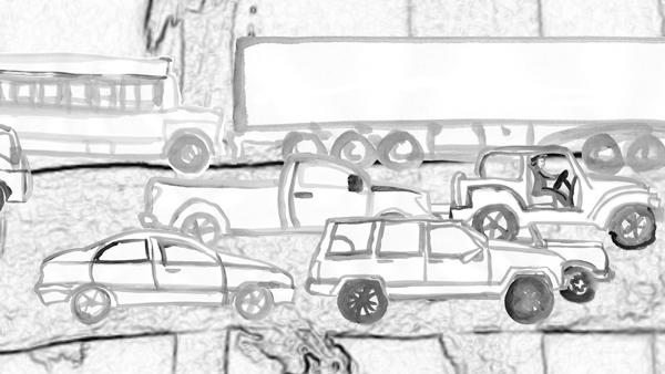 Cars - illustration, animation, sumipainting - mkbarr   ello