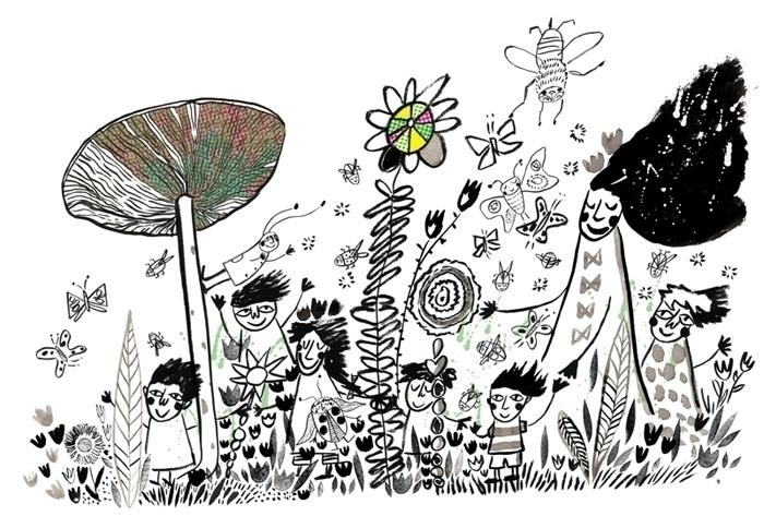 Meadow magic - penink, ink, blackandwhite - lisacinar | ello