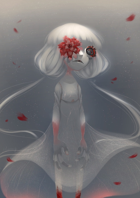 red flower - illustration, ghost - meammy | ello