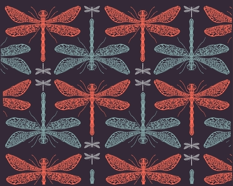 Dragonflies pattern - dragonflies,insects,animals,wings,illustration,drawing,pattern - bernardojbp | ello