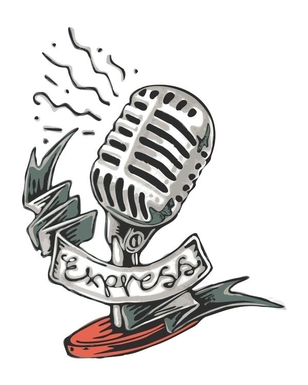 Express - express,expression,microphone,retro,vintage,ribbon,handwritten,metal,illustration,drawing,tattoo - bernardojbp | ello