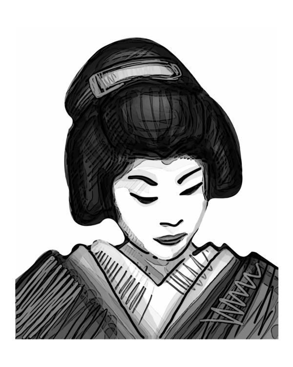 Geisha - geisha,woman,japanese,oriental,traditional,makeup,illustration,drawing - bernardojbp   ello