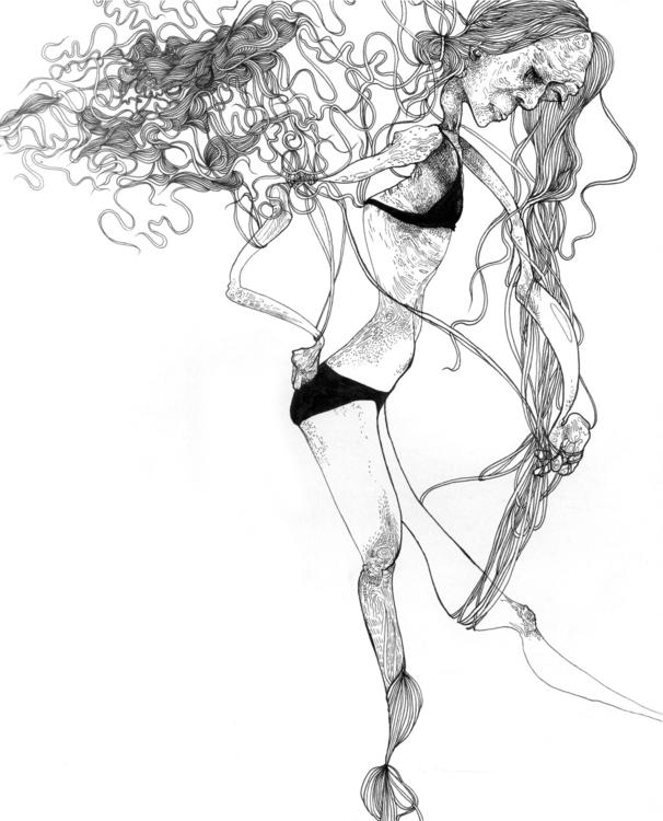body, human, hair, penandink - angelafuhrms | ello