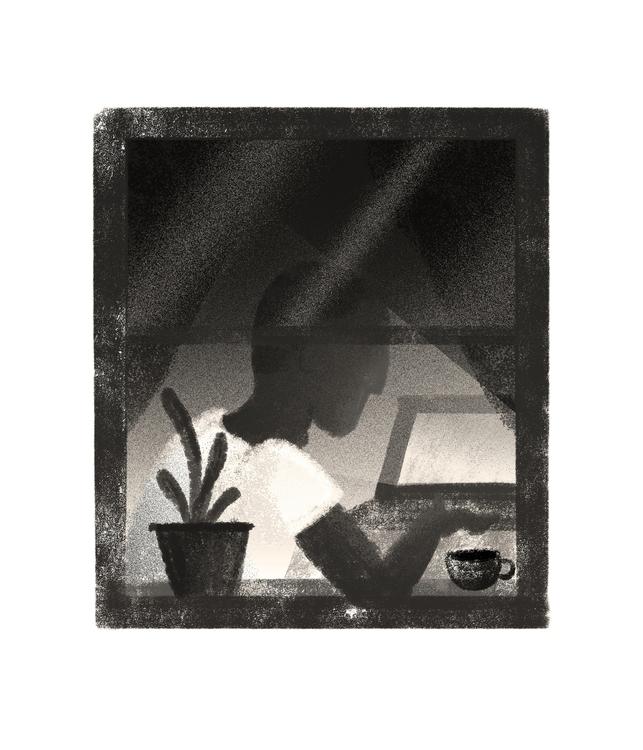 window, computer, plant, illustration - stephaniekubo-8873 | ello