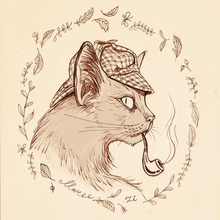 cat detective - sketch, drawing - zizilka | ello