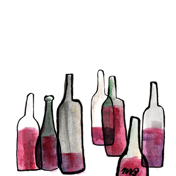 wine, illustration, ink, watercolor - buchino-1190 | ello