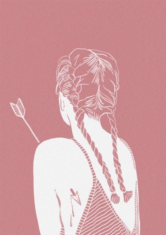 illustration, girl, arrow, keit - keit | ello