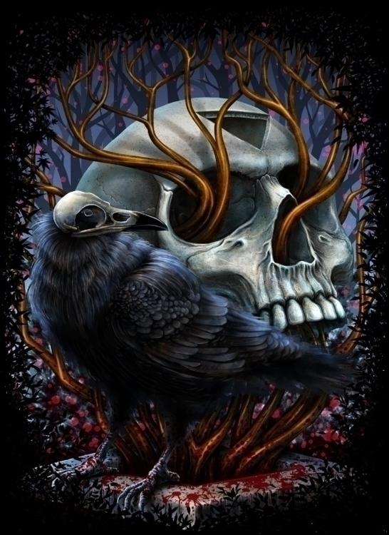 Winya 49 - illustration, skull, crow - winya | ello