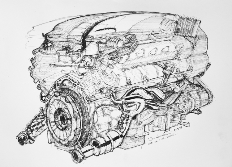 V8 Engine Ink paper. A3 - engine - jandraws | ello